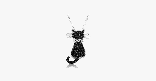 "Silver Overlay Black Diamond Accent Cat Pendant with 18"" Chain - FREE SHIP DEALS"