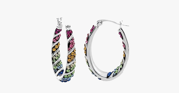 Rainbow Hoop Crystal Earrings - FREE SHIP DEALS