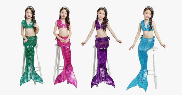 Girls' Mermaid Swimwear Set (4-Piece)