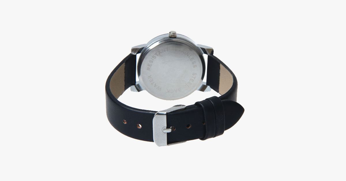 Black Leather Quartz Analog Watch - FREE SHIP DEALS