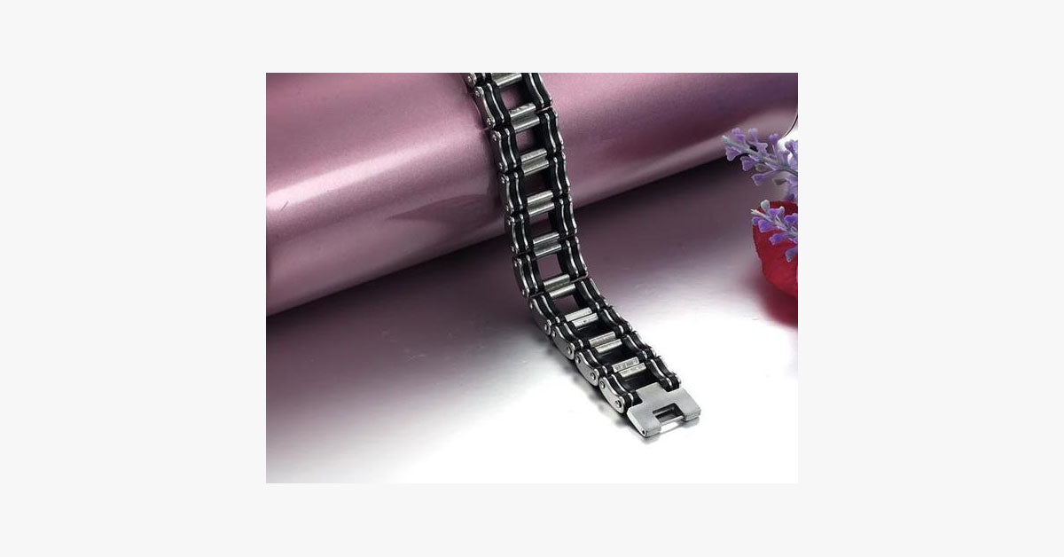Black Strip Stainless Steel Bracelet - FREE SHIP DEALS