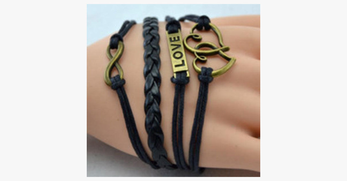 Double Heart Vintage Black Bracelet - FREE SHIP DEALS