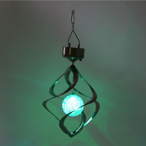Led Color Changing Solar Powered Wind Chime Rotating Light