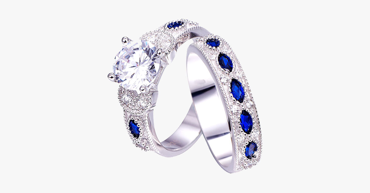 Women'sSapphire Ring Set – Mesmerizing Design – Best Ring Accessory for Women!