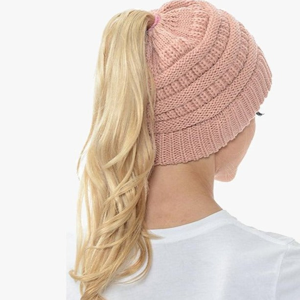 Ponytail Beanie Messy Bun Women's Beanie Solid Ribbed Hat Cap
