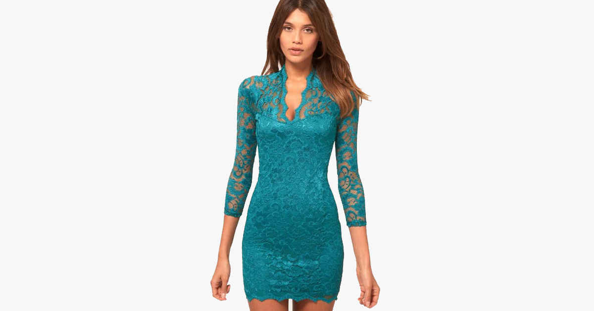 Sexy Flower Scalloped V Neck Lace Dress
