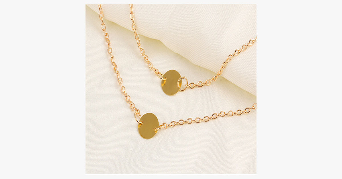 Double Layer Round Pendant Necklace - FREE SHIP DEALS