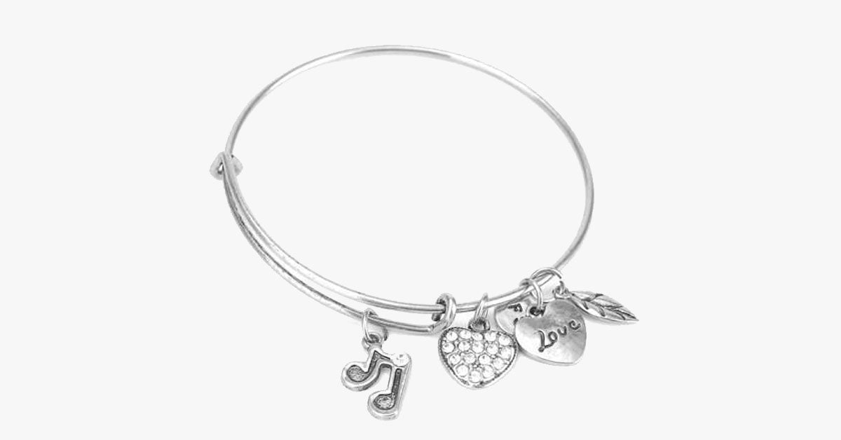 Music Note Charm Bangle - FREE SHIP DEALS