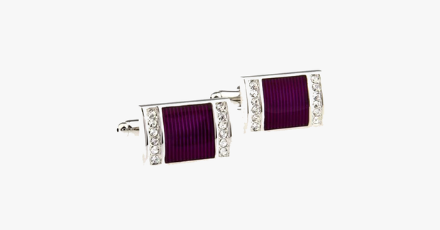 Purple Crystal Cufflink - FREE SHIP DEALS