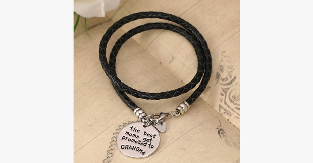 The Best Moms Get Promoted to Grandma - Handstamped Bracelet