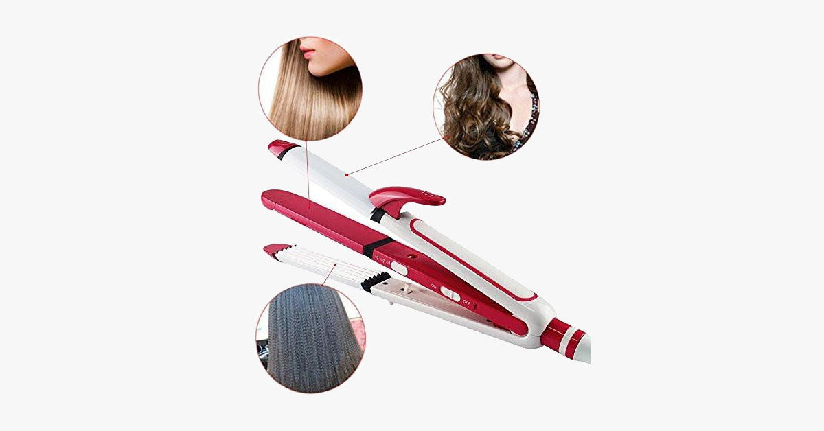 Ceramic 3-in-1 Iron - Curl, Crimp, Straighten - FREE SHIP DEALS