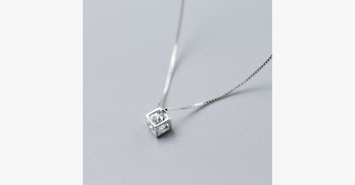 Cube Necklace - Silver - FREE SHIP DEALS