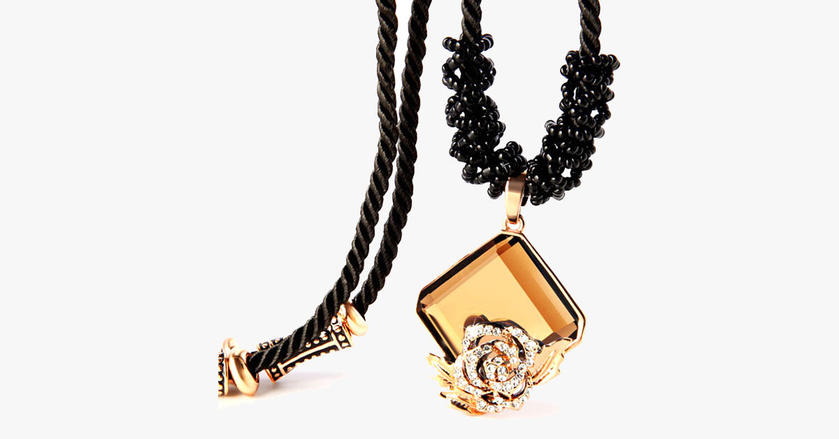 Rose Crystal Black Rope Necklace