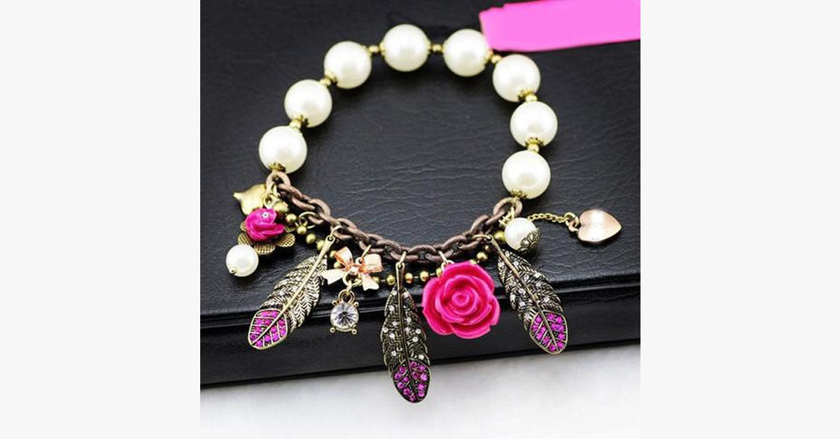 Pink Flower Feather Pearl Stretch Bracelet