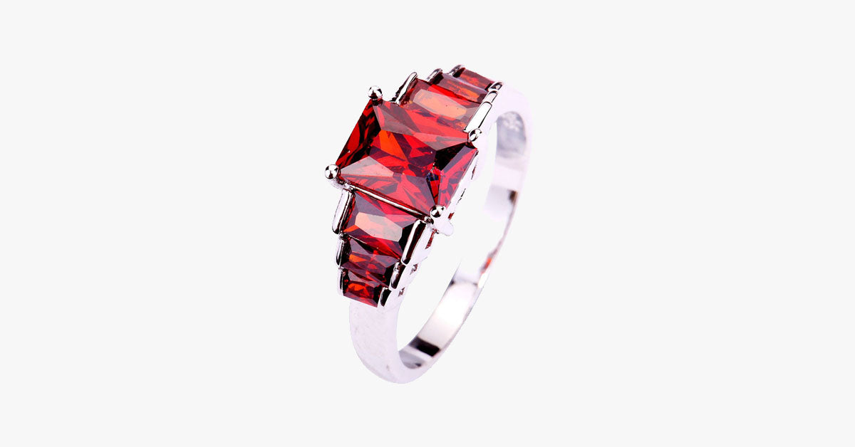 Cubic Red Garnet Ring - FREE SHIP DEALS