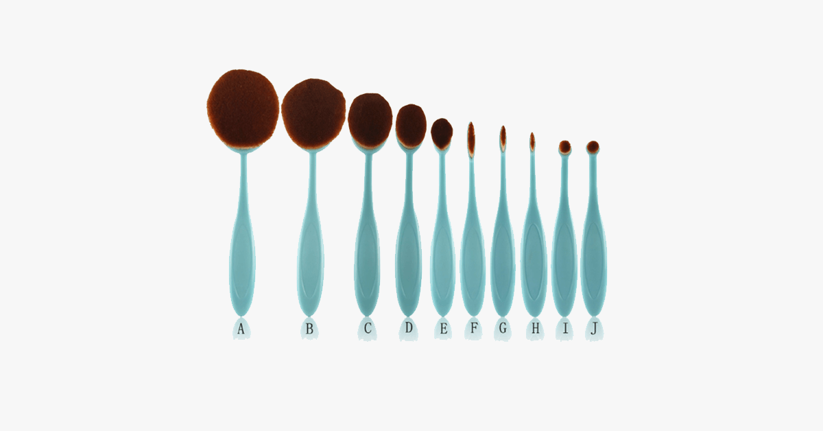 10 Piece Baby Blue Oval Brush Set - FREE SHIP DEALS