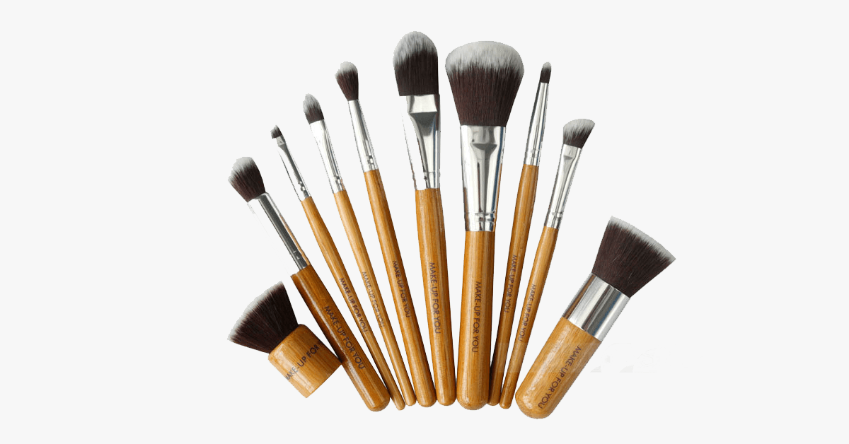 10 Piece Bamboo Brush Set With Free Case - FREE SHIP DEALS