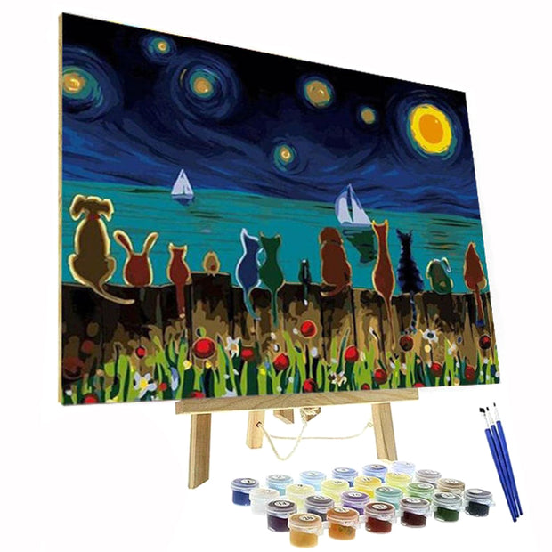 Paint By Numbers Kit - Cats at Night