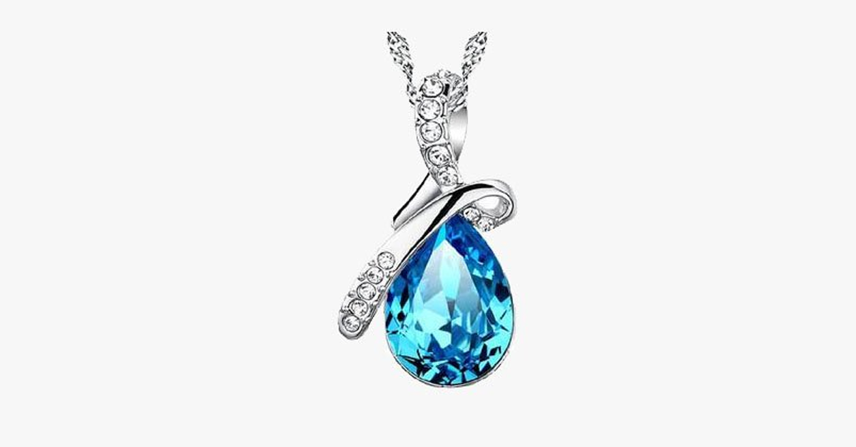 Crystal Rain Drop Pendant with Crystal Embellished Loop - FREE SHIP DEALS