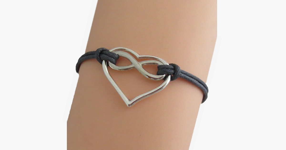 Infinity Heart Charm Bracelet - Lengthening Chain & Lobster Clasp - Adjustable
