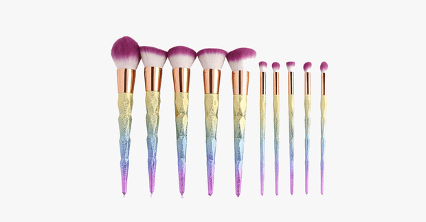 10 Piece Magical Rainbow Makeup Brush Set - FREE SHIP DEALS