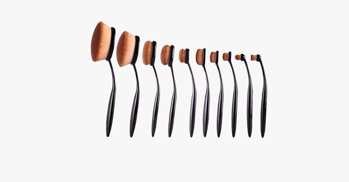Vegan 10 Piece Oval Brush Set - FREE SHIP DEALS