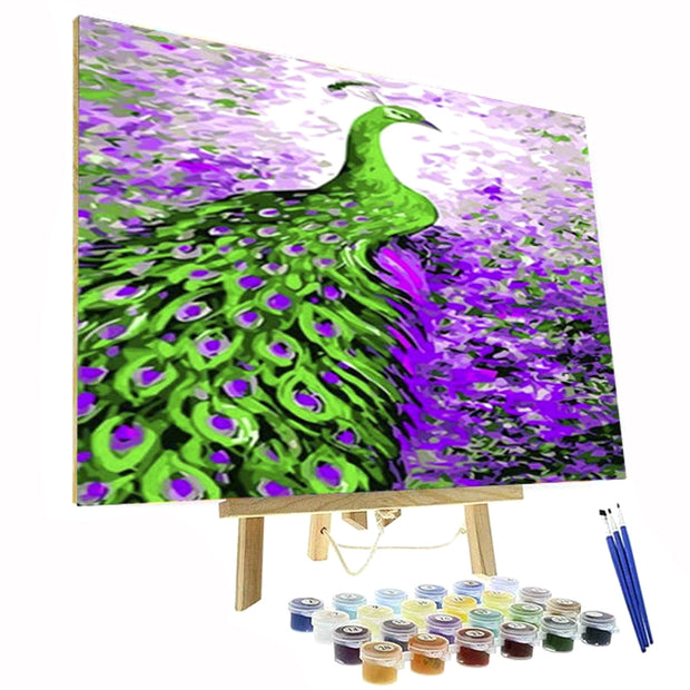 Paint By Numbers Kit - Green Peacock & Purple Flowers
