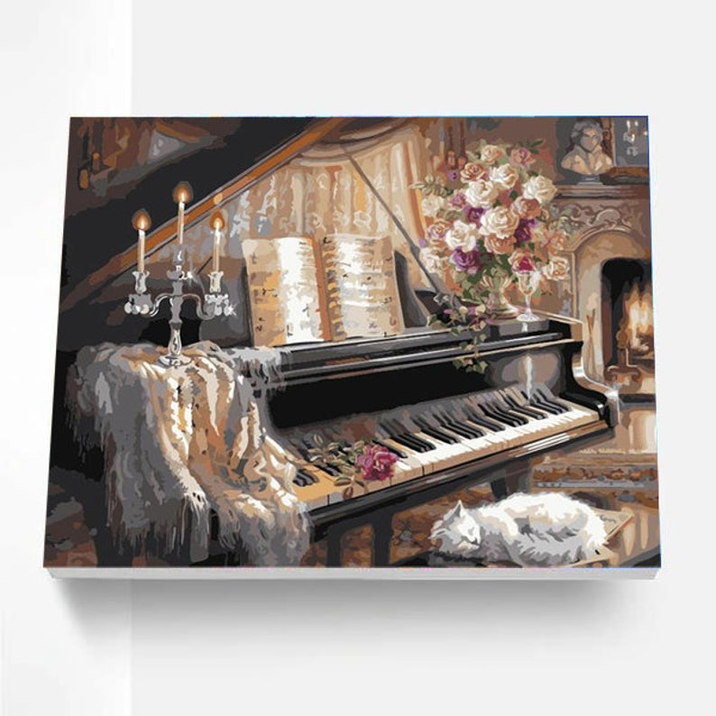 Paint By Numbers Kit - Lazy Cat on Piano