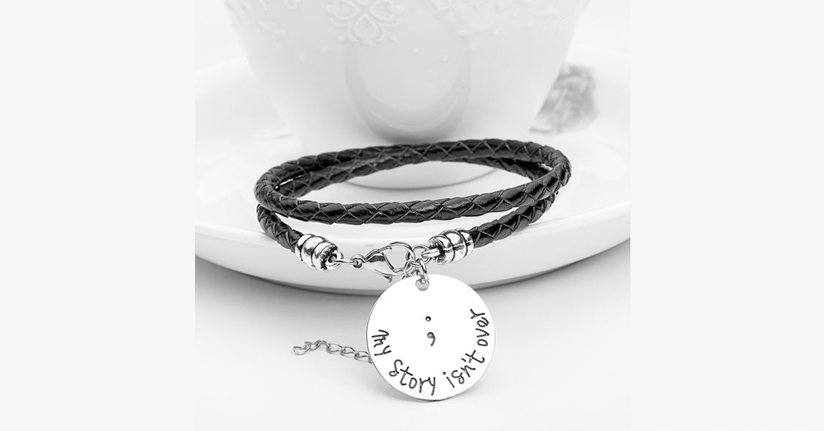 Semicolon Hand Stamped Bracelet