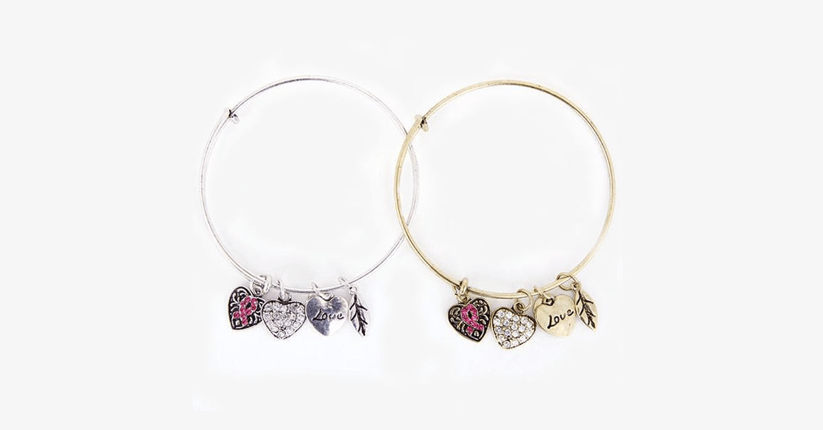 Pink Ribbon Charm Bangle