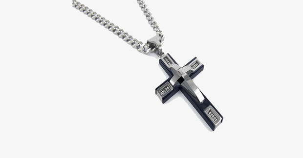 Stainless Steel Beaded Cross Men's Pendant