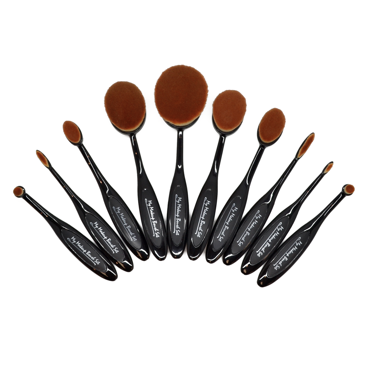 10 Piece Black Oval Make Up Brush Set