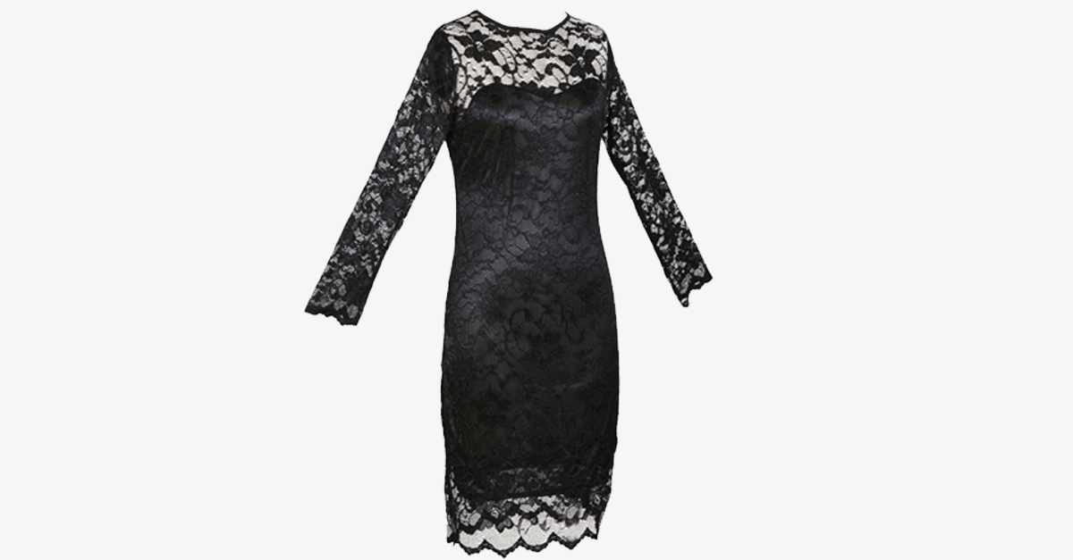 Women's Slim Fit 3/4-Sleeved O-Neck Lace Dress - FREE SHIP DEALS