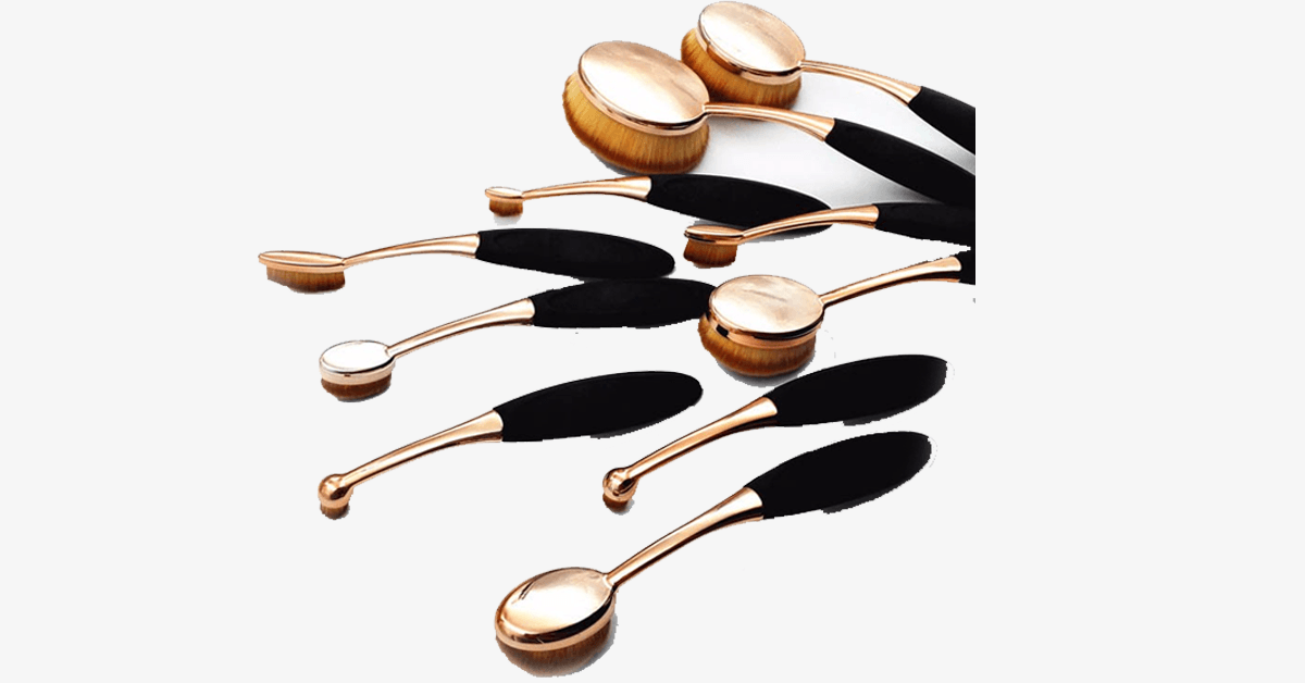 10 Piece Black and Gold Oval Brush Set - FREE SHIP DEALS