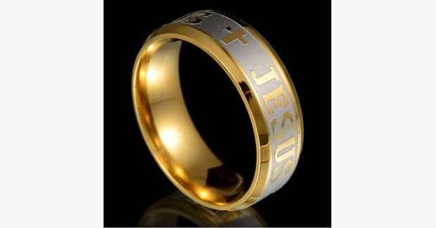 18k Silver Gold Plated Jesus Ring - FREE SHIP DEALS