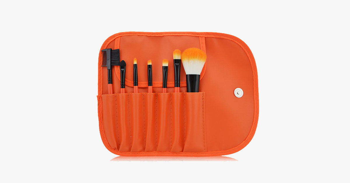 7 Piece Classic Brush Set in Orange - FREE SHIP DEALS