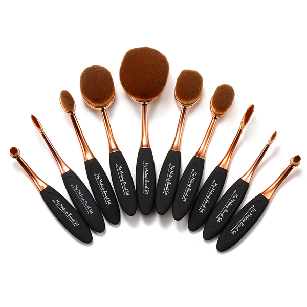 10 Piece Black and Gold Oval Makeup Brush Set