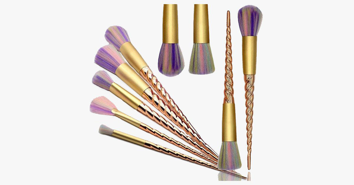 5 Piece Gold Twisted Unicorn Makeup Brush Set - FREE SHIP DEALS