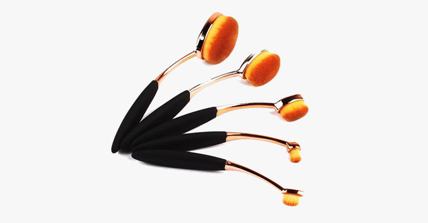 5 Piece Rose Gold Oval Brush Set - FREE SHIP DEALS
