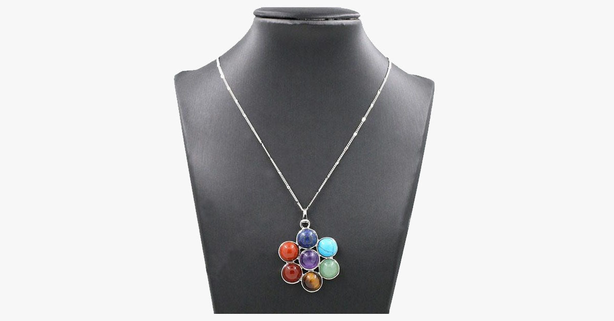 7 Chakra Stones Natural Healing Pendant Necklace - FREE SHIP DEALS