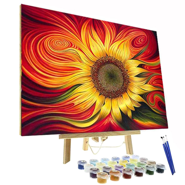 Paint By Numbers Kit - Red Spiral Sunflower