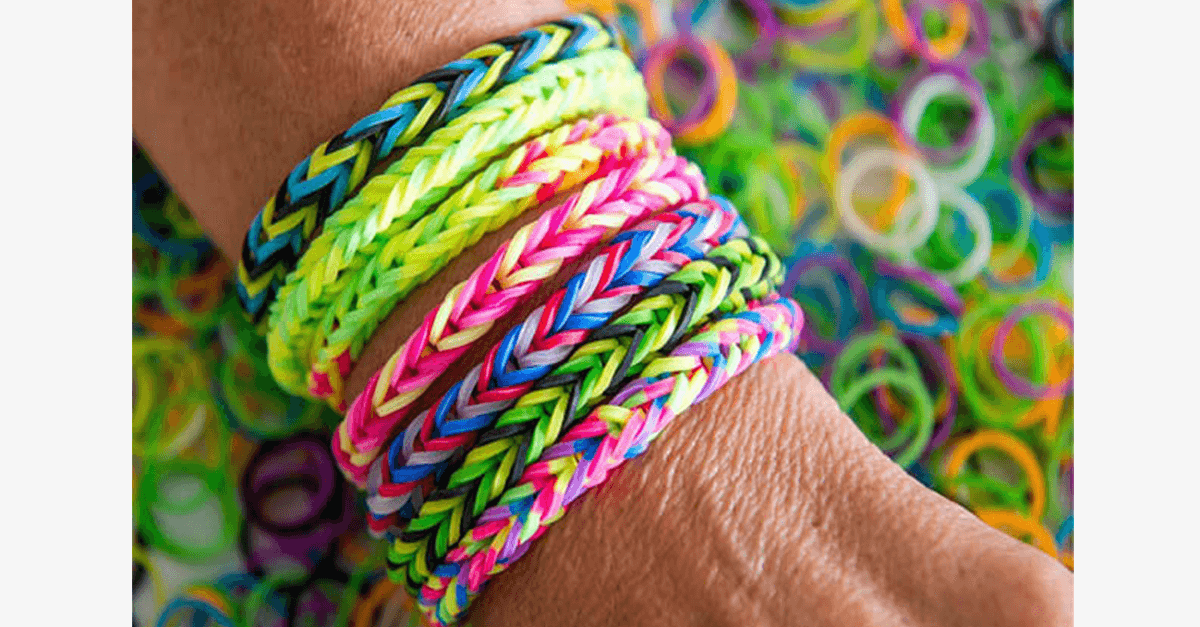 photo pile bands rubber bracelets for small color and table loom on the rainbow round of colorful stock hands making