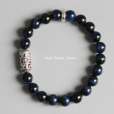Tibetan Six Words Mantra Blue Eagle Eye Stone Mala Bracelet
