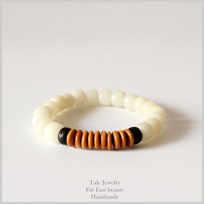 Natural White Bodhi Seed with Coconut Shell Mala Bracelet