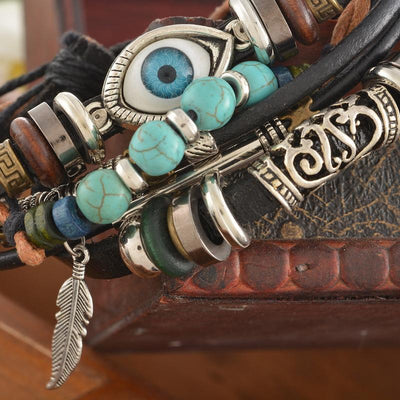 Multilayer Spiritual Leather Beaded Bracelet