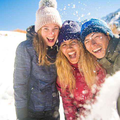 Three women at a ski resort