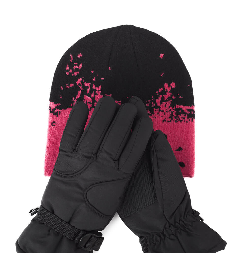 Big Girls Knit Hat and Ski Glove Set