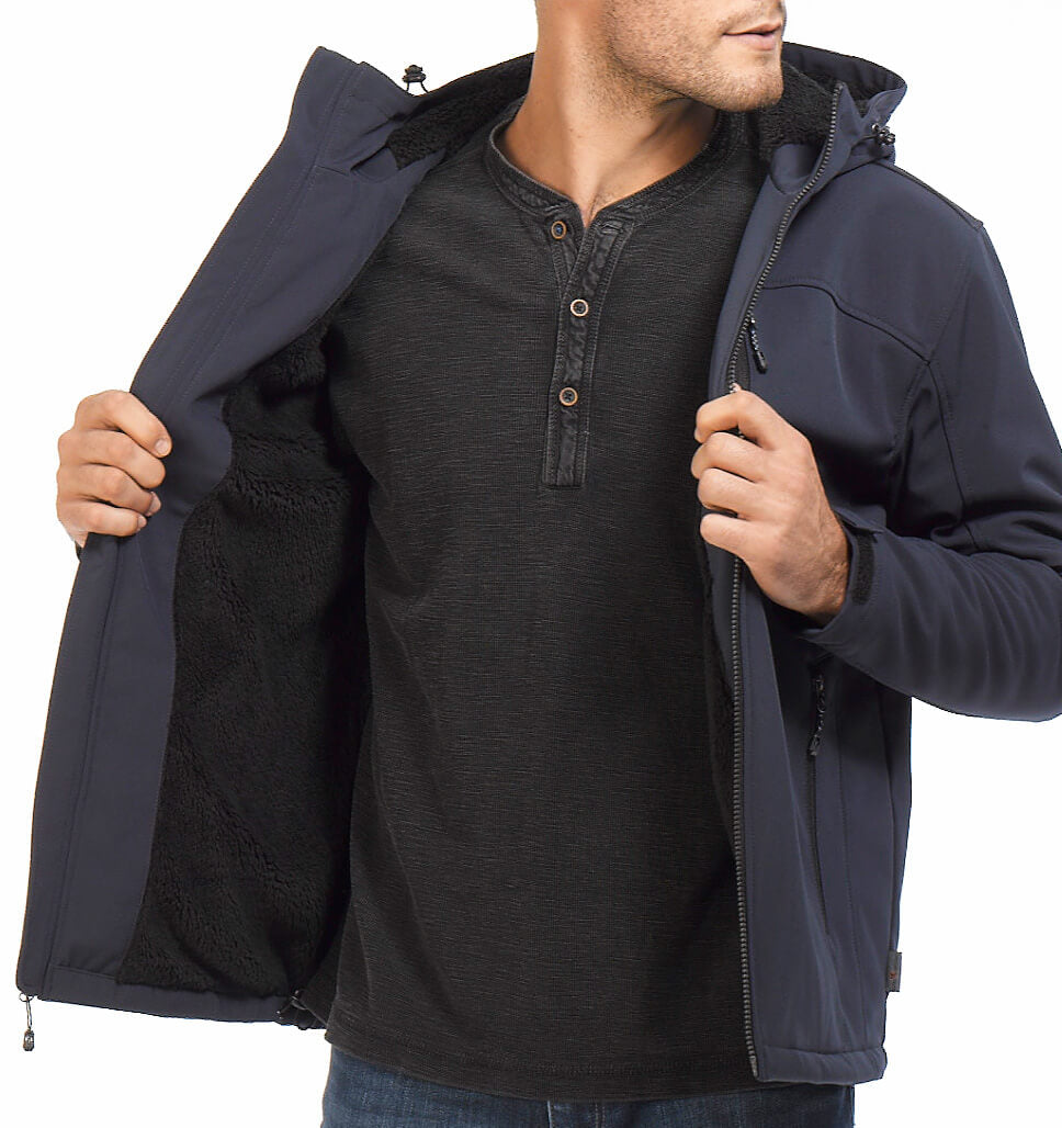 Free Country Men's Cross Trail Berber Lined Softshell Jacket - Black - S
