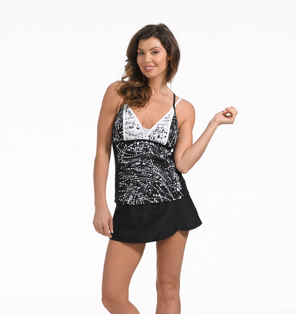 Free Country Regatta Color Block Tankini Top - Black-White - S