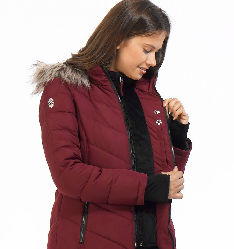 Free Country Women's Gale Power Down Jacket - Deep Cranberry
